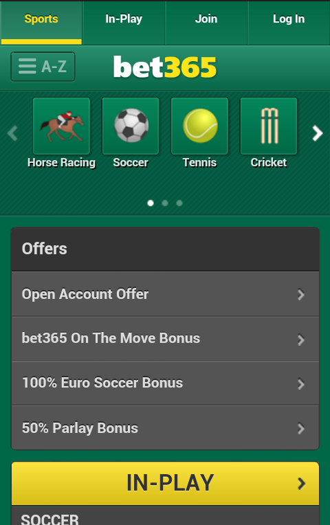 find the bet365 mobile app to enter the website