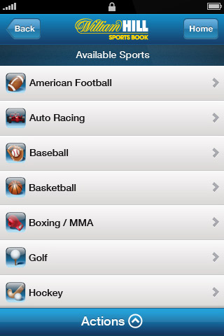what sports are on the william hill mobile app