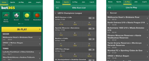 what is the interface layout of bet365 iphone app