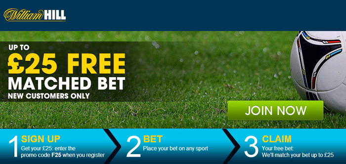 how to make a 25 pound free bet at william hill