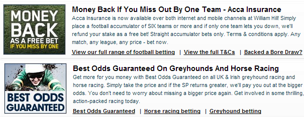 what are the current promotions at william hill