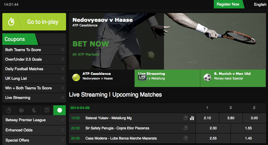 is there in-play betting at the betway site