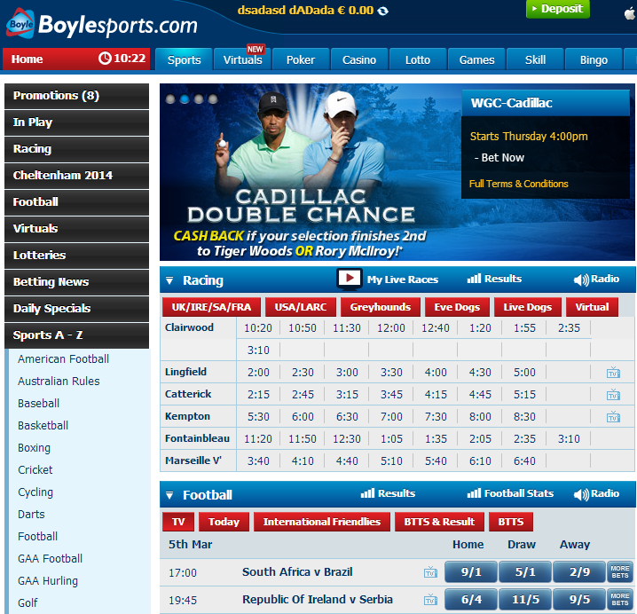 what are the sports matches at the boylesports website