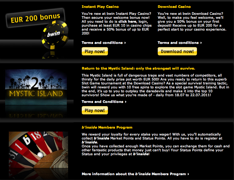 find many bonuses and promotions at the bwin bookmaker