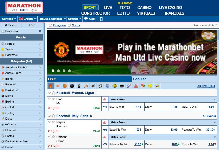 How good is the Design and Layout of the Marathonbet Website?