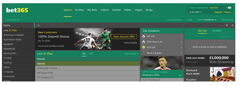 The New HTML5 Sports Page At Bet365