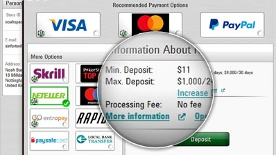 Which are the online payment options regarding poker gambling online?
