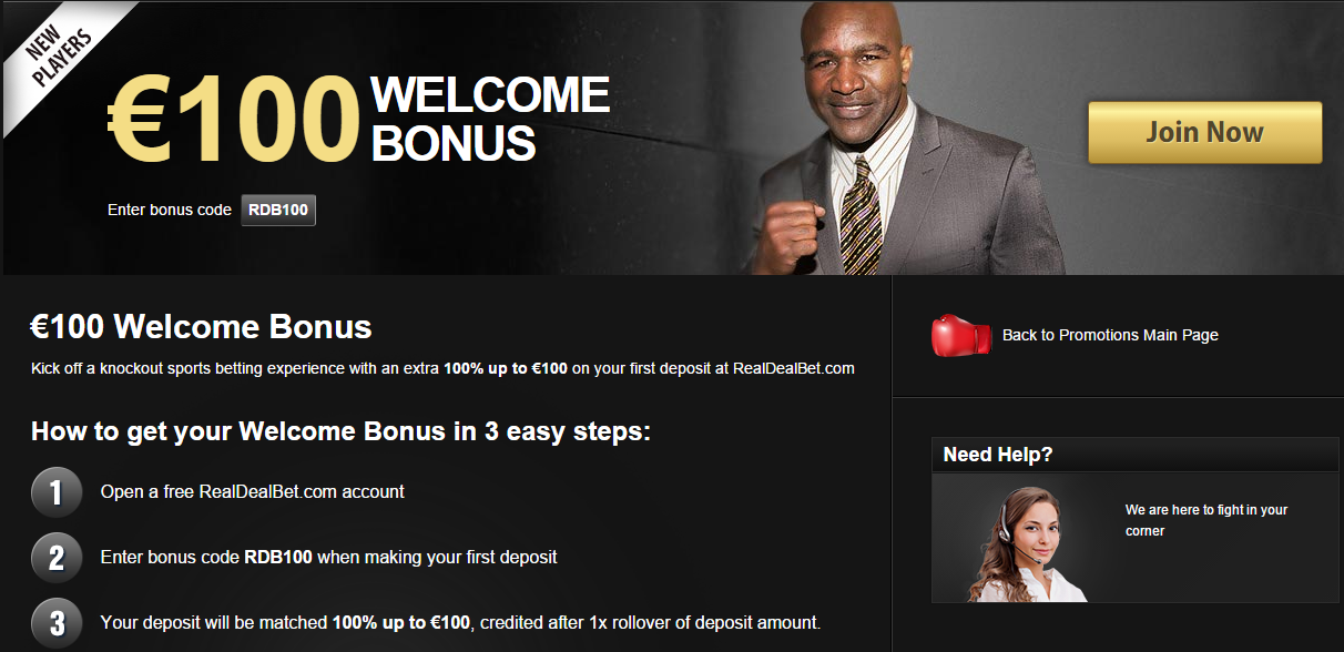 what is the welcome bonus at real deal bet